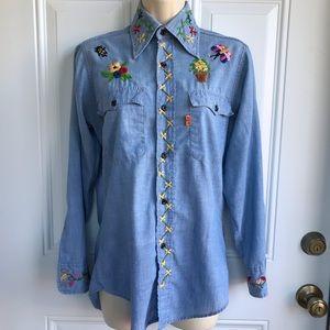 Vintage 70s Levis Orange Tab Embroidered Shirt EUC
